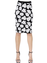 Nina Ricci Viscose And Cotton Jacquard Pencil Skirt Black White