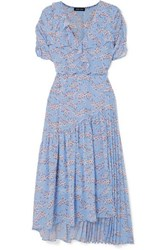 Markus Lupfer Nevada Wrap Effect Ruffled Floral Print Georgette Midi Dress Sky Blue