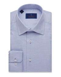 David Donahue Regular Fit Mini Box Dress Shirt Blue