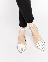 Asos Launch Studded Lace Up Ballet Flats White