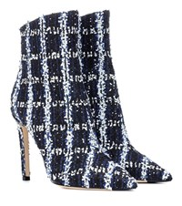 Jimmy Choo Exclusive To Mytheresa Helaine 100 Tweed Ankle Boots Blue