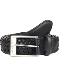 Dents Plaited Leather Belt Black