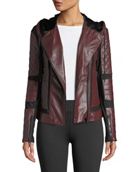 Blanc Noir Voyage Hooded Diamond Stitch Lace Up Leather Moto Jacket Red