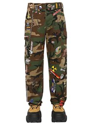 Vetements Stickers Camo Canvas Cargo Pants Green