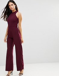 Tfnc Strappy Jumpsuit With Strappy Back Burgandy Red