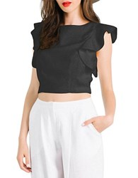 Kendall Kylie Flutter Sleeve Crop Top Black