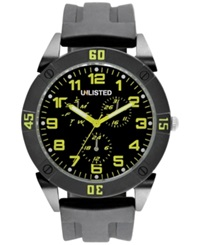 Unlisted Men's Black Silicone Strap Watch 46Mm Ul1302