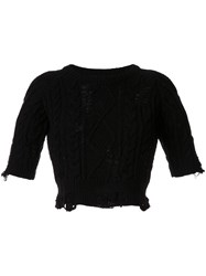 Miharayasuhiro Distressed Cable Knit Jumper Black