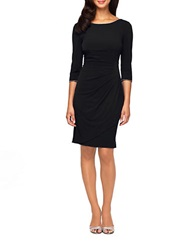 Alex Evenings Rhinestone Accented Ruched Dress Black