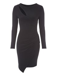 Jane Norman Slash Neck Asymmetric Wrap Dress Black