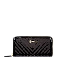 Harrods Patent Chevron Zip Around Wallet Unisex