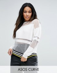 Asos Curve Jumper With Sheer Stripes Multi