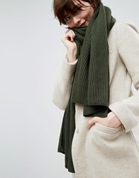 Asos Long Rib Knit Scarf In Recycled Polyester Mix Green