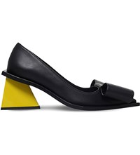 Marques Almeida Oversized Bow Detail Leather Pumps Black
