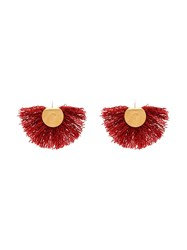 Katerina Makriyianni Wool Fan Earrings Red