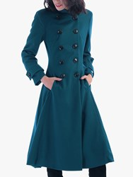 Jolie Moi Double Breasted Flared Coat Dark Teal