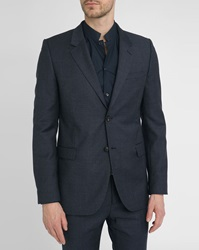 Melindagloss Navy Micro Pattern Classic Suit Jacket