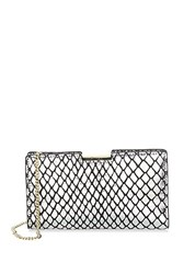 Milly Reptile Leather Clutch Gold