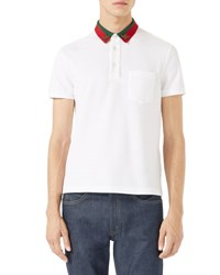 Gucci Cotton Polo W Bee Web White