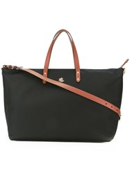Lauren Ralph Lauren Contrast Handle Tote Women Leather Nylon One Size Black