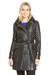 Women's Via Spiga Belted Asymmetrical Quilted Trench Coat Black