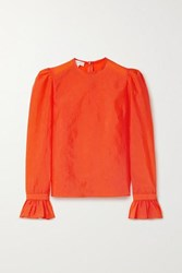 Beaufille Maiolino Ruffled Stretch Crepe Blouse Orange