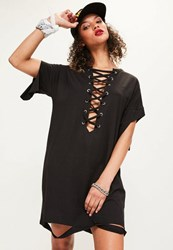 Missguided Black Lace Up Distressed T Shirt Dress