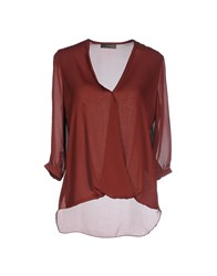 Soallure Shirts Blouses Women Brick Red
