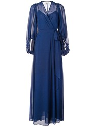 Halston Heritage Long Wrap Evening Dress Blue