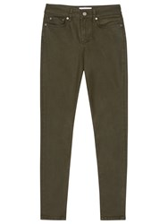 Reiss Stevie Coated Low Rise Skinny Jeans Olive
