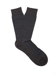 Pantherella Streatham Polka Dot Cotton Blend Socks Charcoal