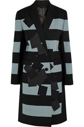 Jonathan Saunders Eveline Striped Patchwork Appliqued Coat Black