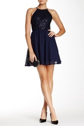 As U Wish Halter Sequin Lace Homecoming Dress Blue
