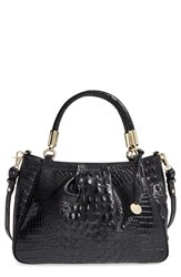Brahmin 'Ruby' Croc Embossed Leather Satchel Black