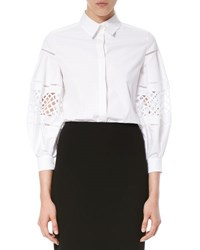Carolina Herrera Crochet Inset Balloon Sleeve Blouse White