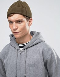 Asos Fisherman Beanie In Khaki Khaki Green