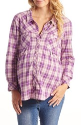 Everly Grey Women's 'Batina' Maternity Shirt Lilac Plaid