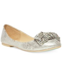 Blue By Betsey Johnson Ever Bow Ballet Flats Women's Shoes Silver
