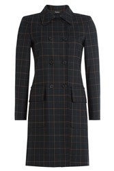 Theory Checked Coat With Virgin Wool Blue