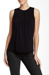Fate Faux Leather Trim Crew Neck Tank Black