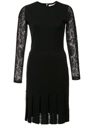 Carolina Herrera Pleated Knit Dress Black