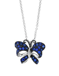 Effy Royale Bleu Sapphire Diamond And 14K White Gold Butterfly Pendant Necklace Blue