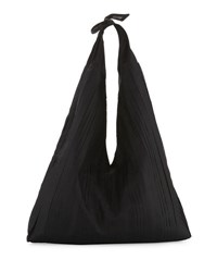The Row Bindle Pleated Silk Mesh Hobo Bag Black