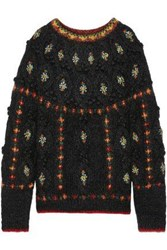 Mes Demoiselles Woman Cheerleader Embroidered Cable Knit Mohair Blend Sweater Black