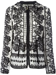 Moncler Floral Embroidered Hooded Jacket White