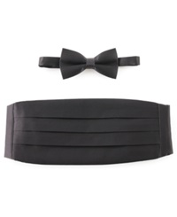 Michelsons Of London Tie Bow Tie And Cummerbund Set Black