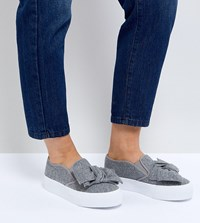 Asos Discovery Wide Fit Bow Flatform Plimsolls Grey Wool