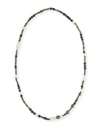 Hipchik Savannah Beaded Necklace 43 Gray White