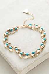 Anthropologie Turquoise Layered Ankle Bracelet Gold