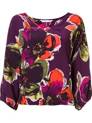 Trina Turk Floral Pattern V Neck Blouse Pink And Purple